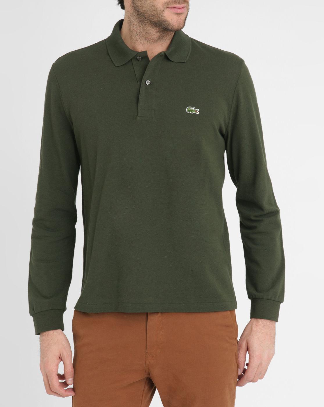 Lacoste Khaki Long Sleeve Polo Shirt In Green For Men