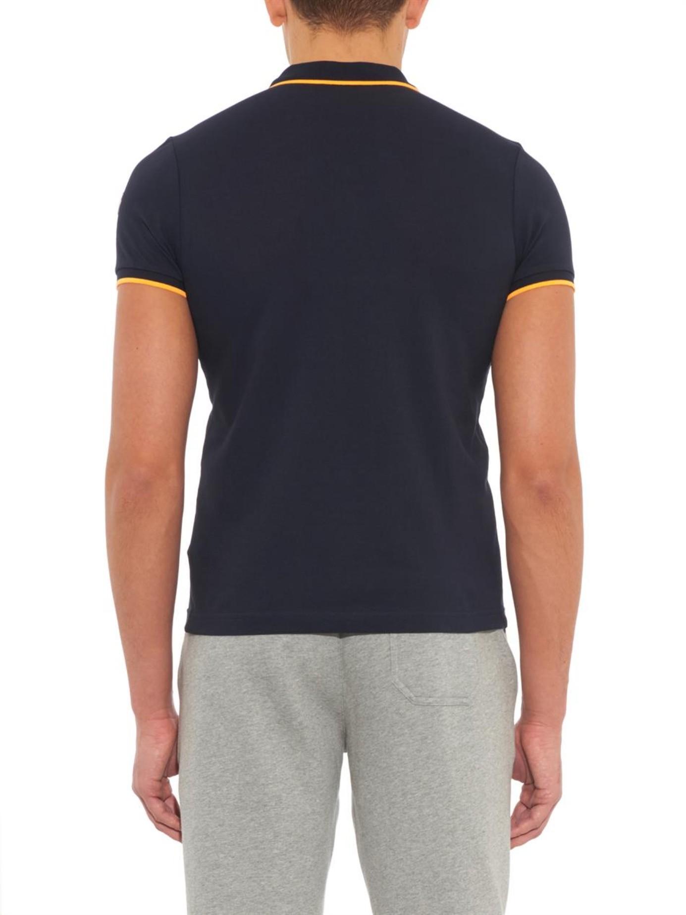 Lyst moncler slim fit cotton piqu polo shirt in blue for Slim fit cotton shirts