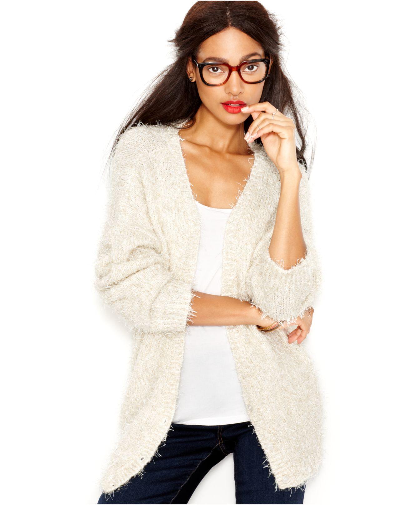 d1e49a2e56 Lyst - Maison Jules Metallic-Flecked Eyelash-Knit Cardigan in White