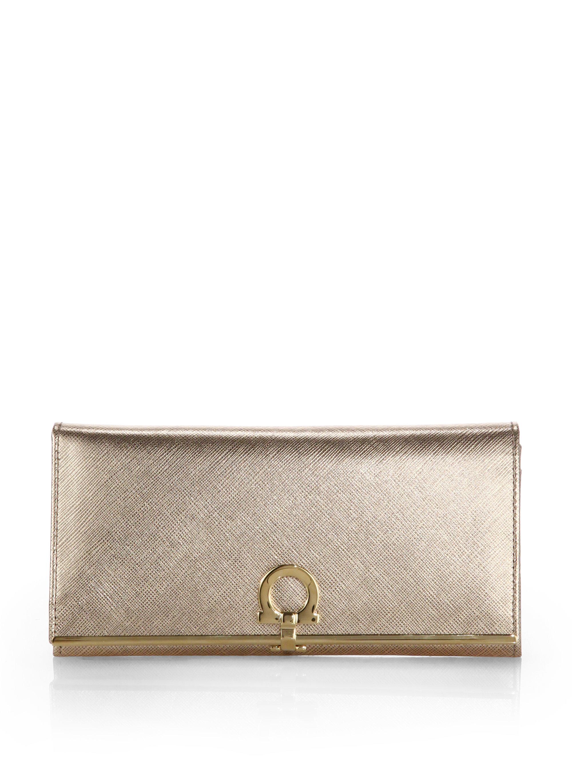 1b27429caf Lyst - Ferragamo Gancini Icona Metallic Saffiano Leather Flap ...