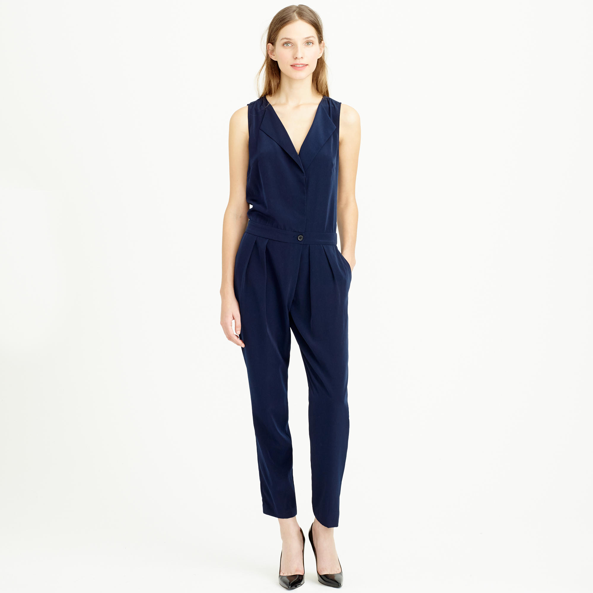 bc456cedfb23 Lyst - J.Crew Sleeveless Trench Jumpsuit in Blue