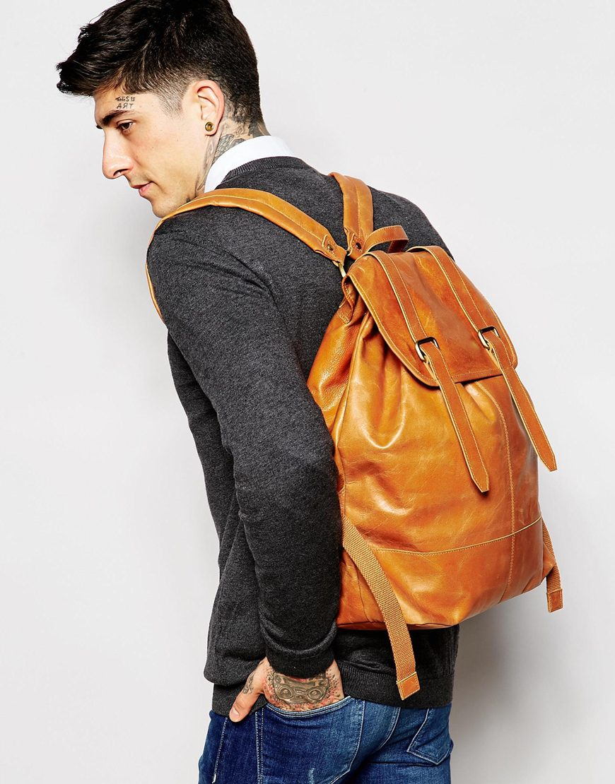 Asos Leather Backpack In Tan With Vintage Styling in Brown for Men ...