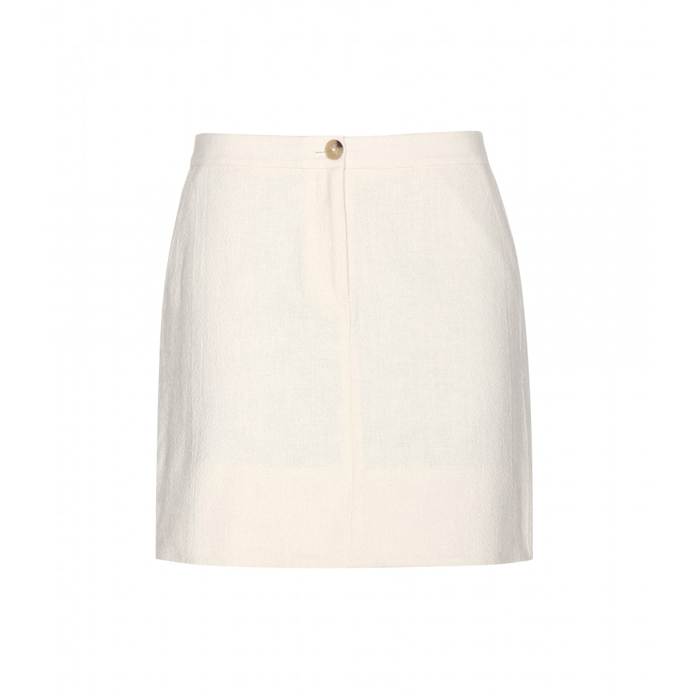 Tory burch Cotton Mini Skirt in White | Lyst