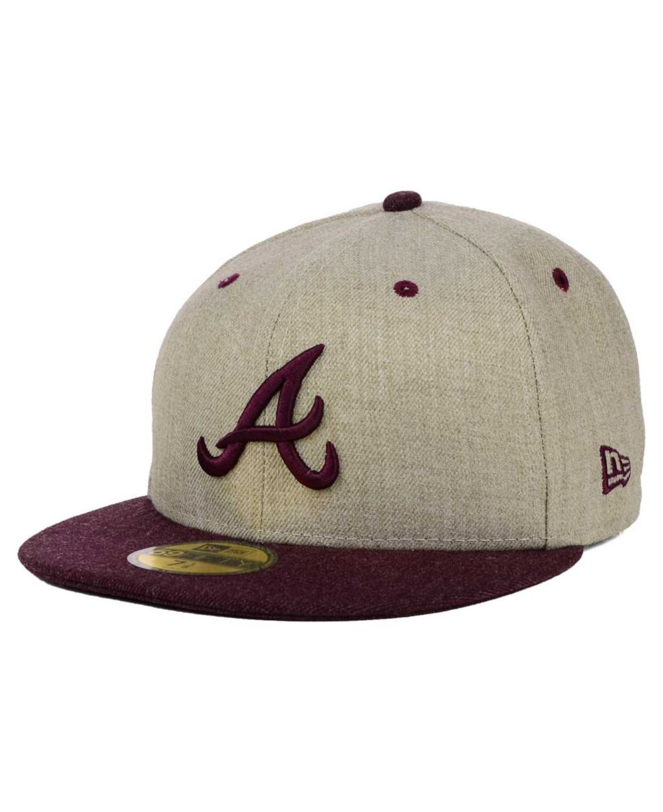 half off d00d9 ce50e ... low cost lyst ktz atlanta braves heather mashup 59fifty cap in natural  for men 02f8c d310f