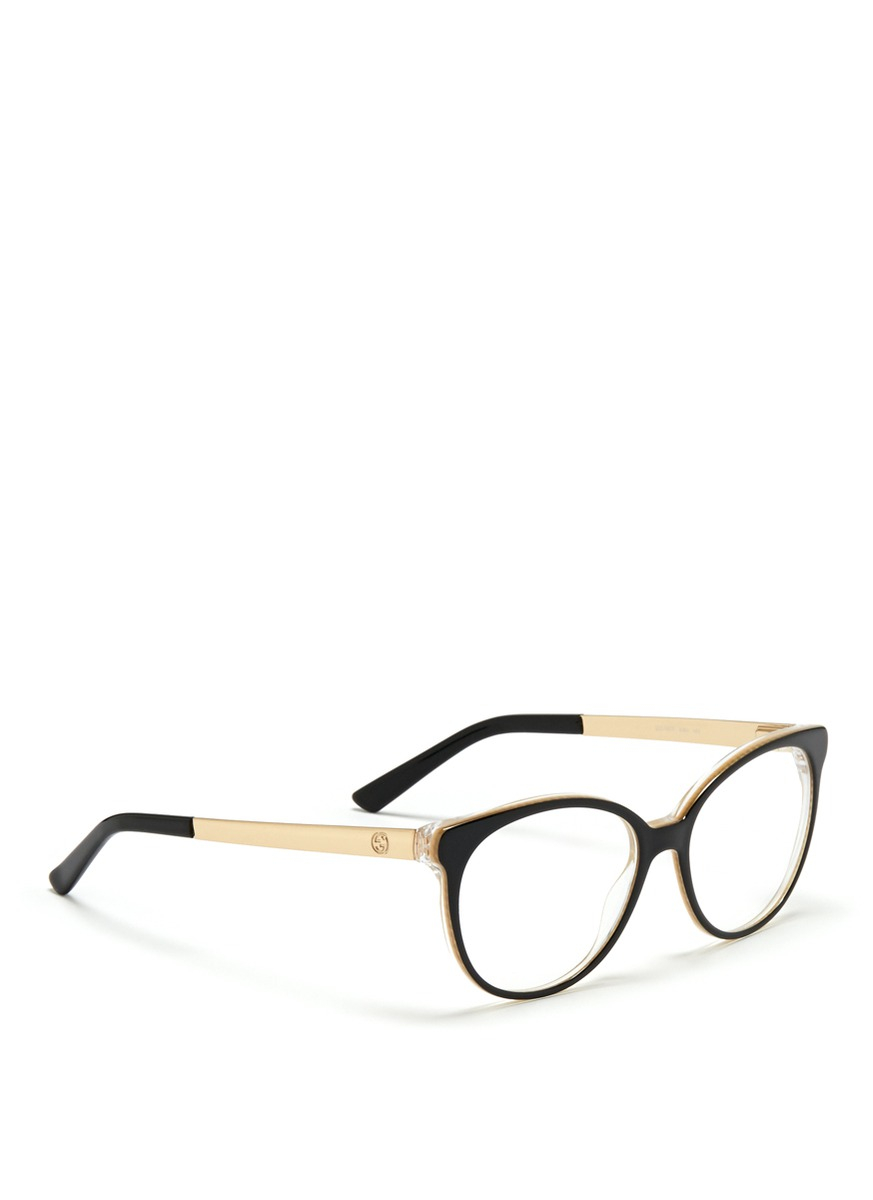 8156bd139b Lyst - Gucci Metal Arm Acetate Frame Optical Glasses in Black