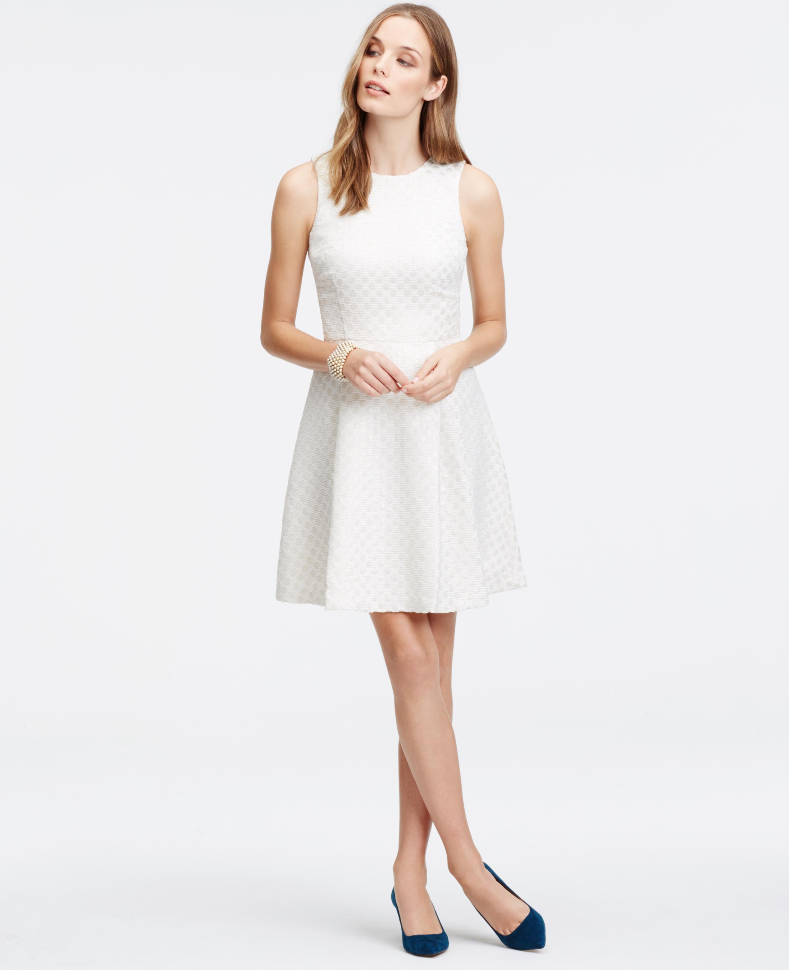 Lyst - Ann Taylor Petite Shimmer Dot Jacquard Flare Dress in White