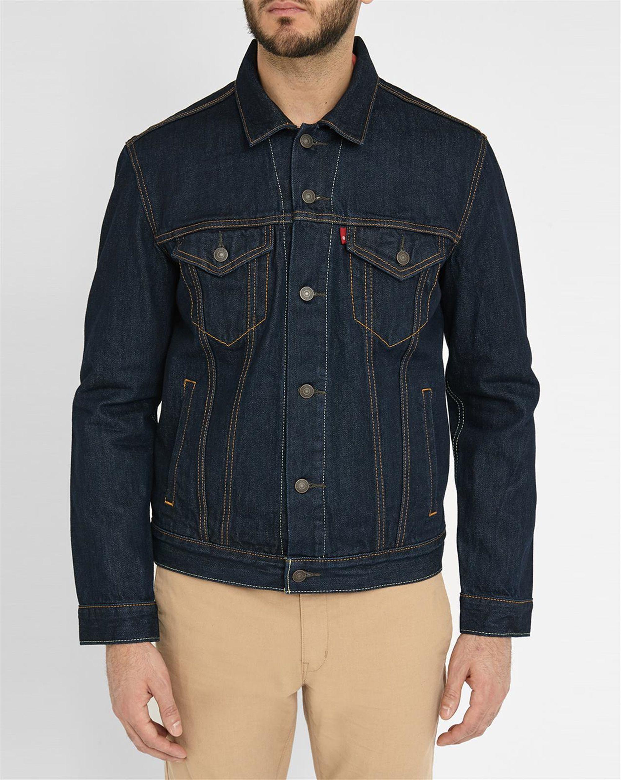 levi 39 s dark denim trucker shirt in blue for men lyst. Black Bedroom Furniture Sets. Home Design Ideas