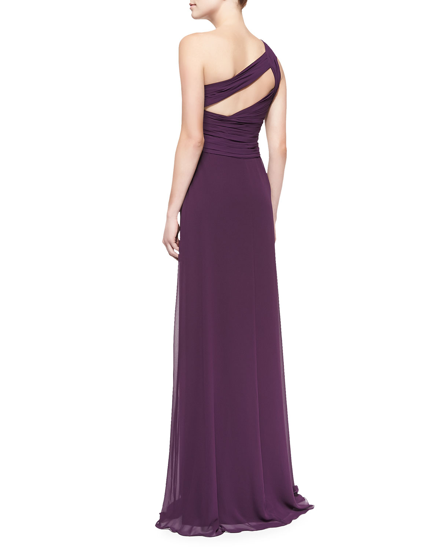 3ba8b8b8c1b5e Lyst - Monique Lhuillier Bridesmaids One-shoulder Overlay Gown in Purple