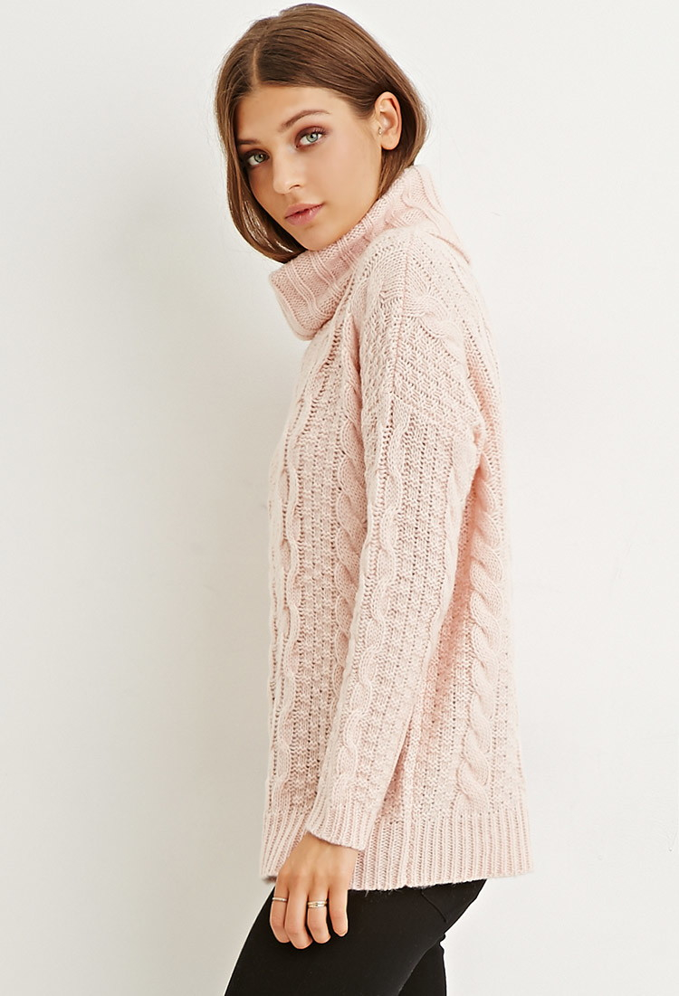 Sweater Knit : Pink knit turtleneck sweater fashion skirts