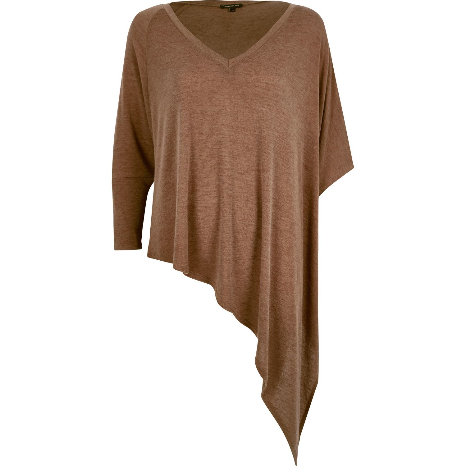7bac25abfa89de River Island Brown Slouchy V-neck Asymmetric Knitted Top in Brown - Lyst