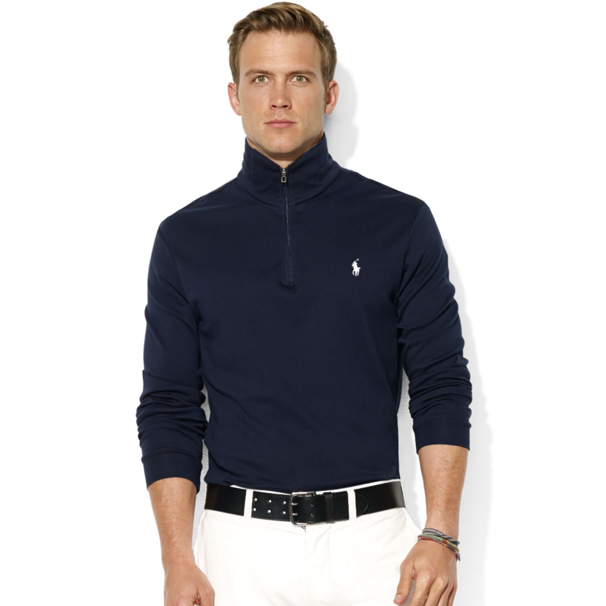 Ralph Lauren Men Grey Mesh Cotton Half-zip Sweaters .