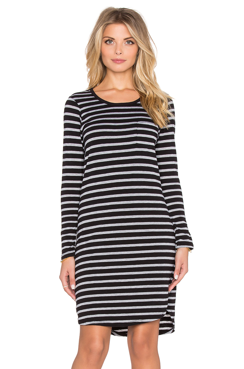 Sundry Striped Long Sleeve Pocket Dress in Black  Lyst