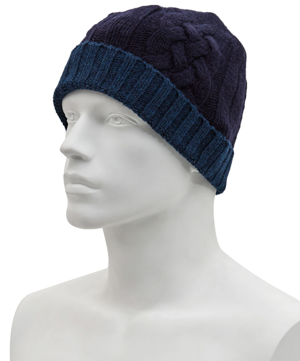 Lyst - Paul Smith Navy Mixed Cable Knit Beanie Hat in Blue for Men e97594e05b9