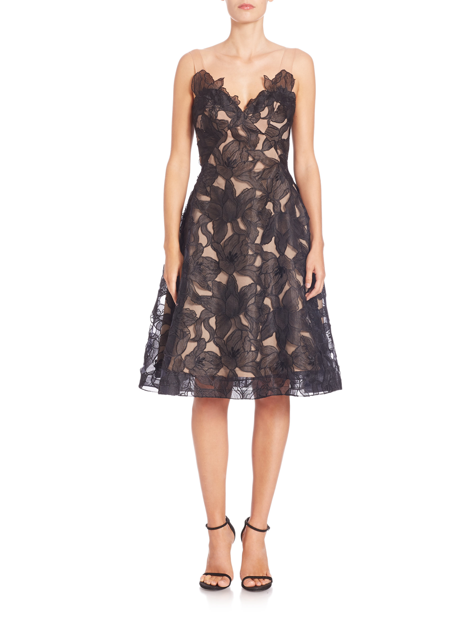 lyst notte by marchesa organza cutout embroidered dress