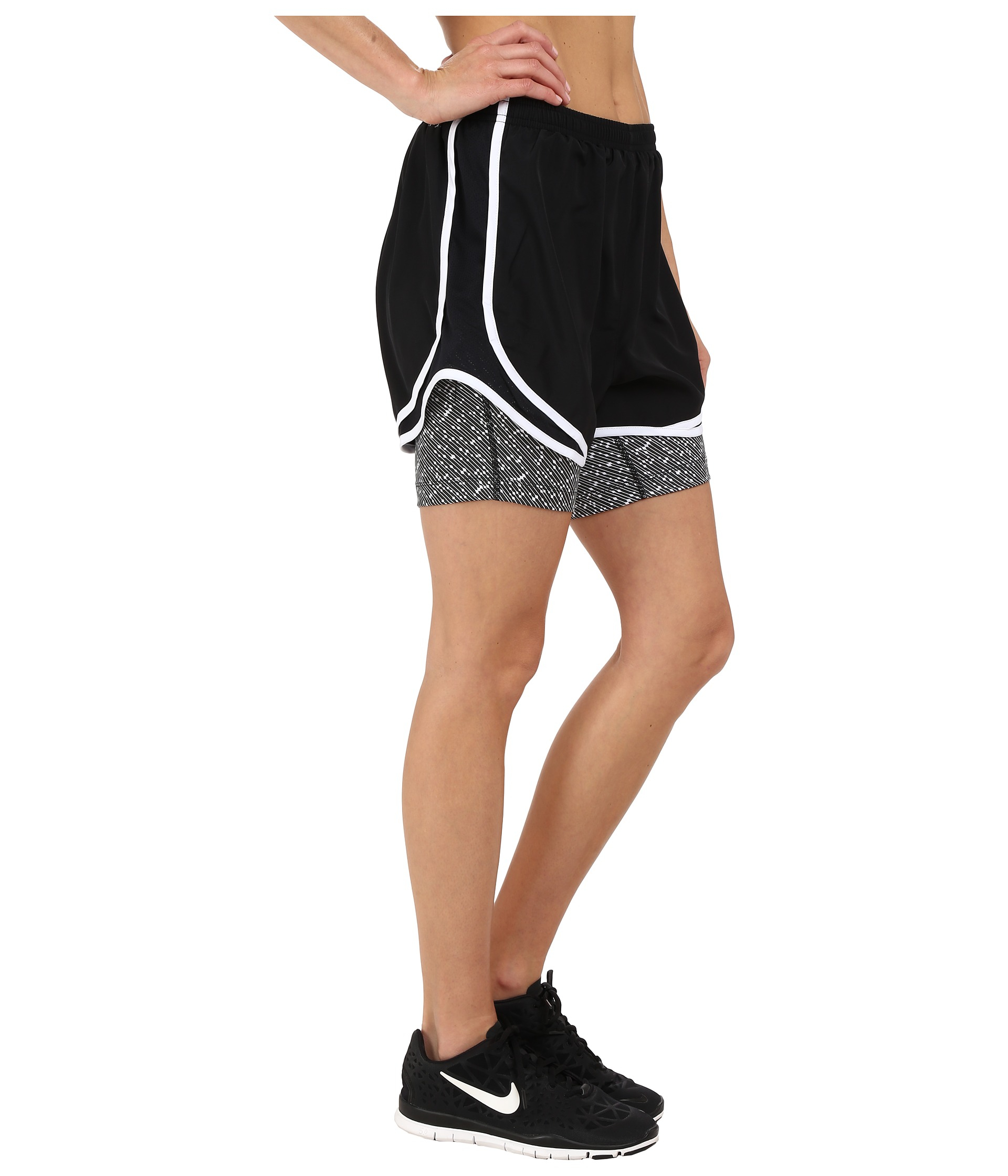 Lyst Nike 2 In 1 Tempo Print Compression Short In Black