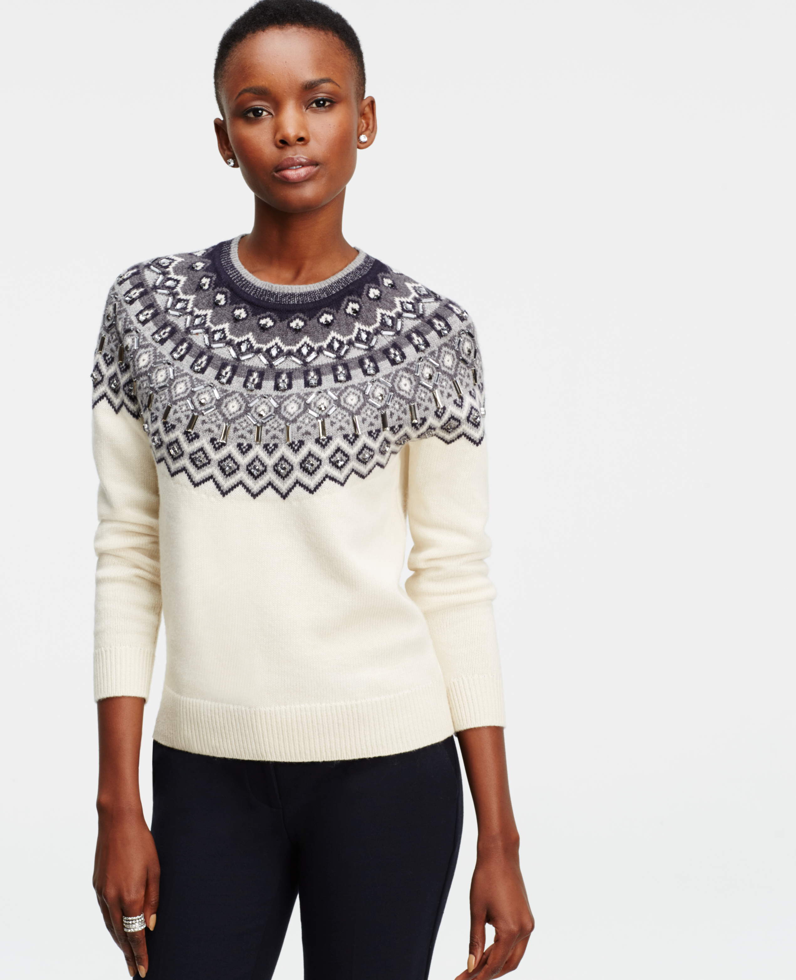 Ann taylor Embellished Fairisle Sweater in Natural | Lyst