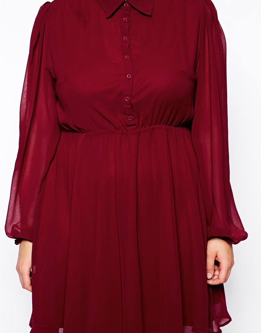 lyst ax paris plus size chiffon shirt skater dress in red. Black Bedroom Furniture Sets. Home Design Ideas