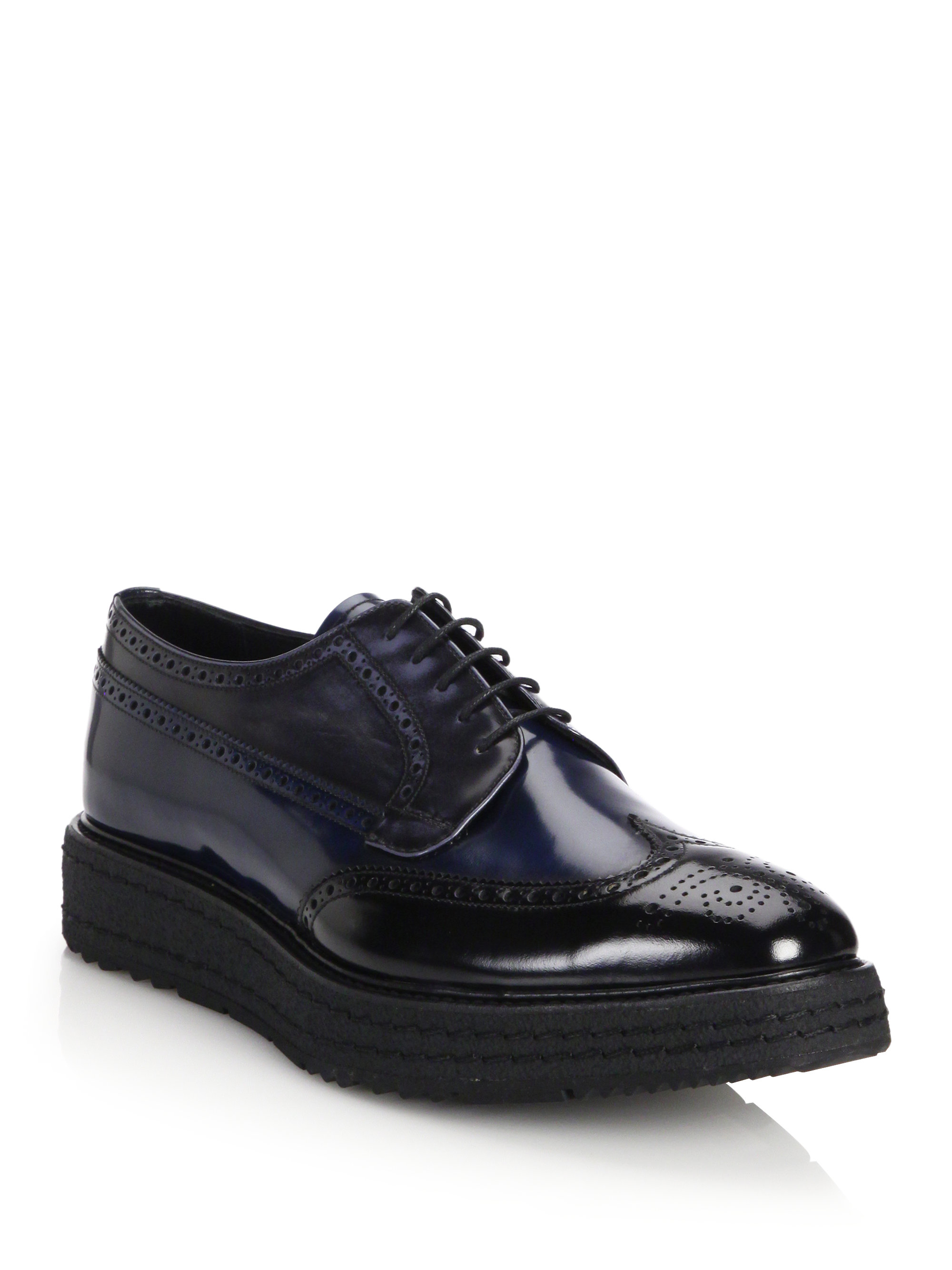 Prada Creeper Lug Sole Leather Derby Shoes In Black For