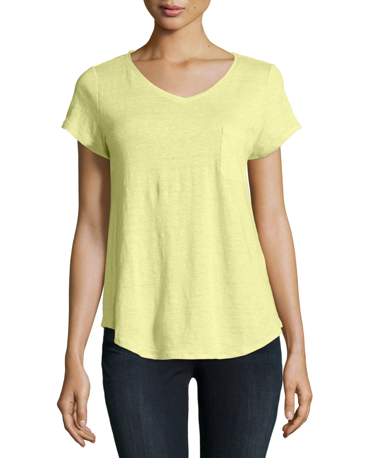 36d074cac0 Lyst - Eileen Fisher Classic Short-sleeve V-neck Tee in Yellow