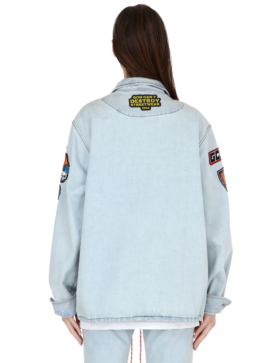 Lyst Gcds Embroidered Patches Cotton Denim Jacket In Blue