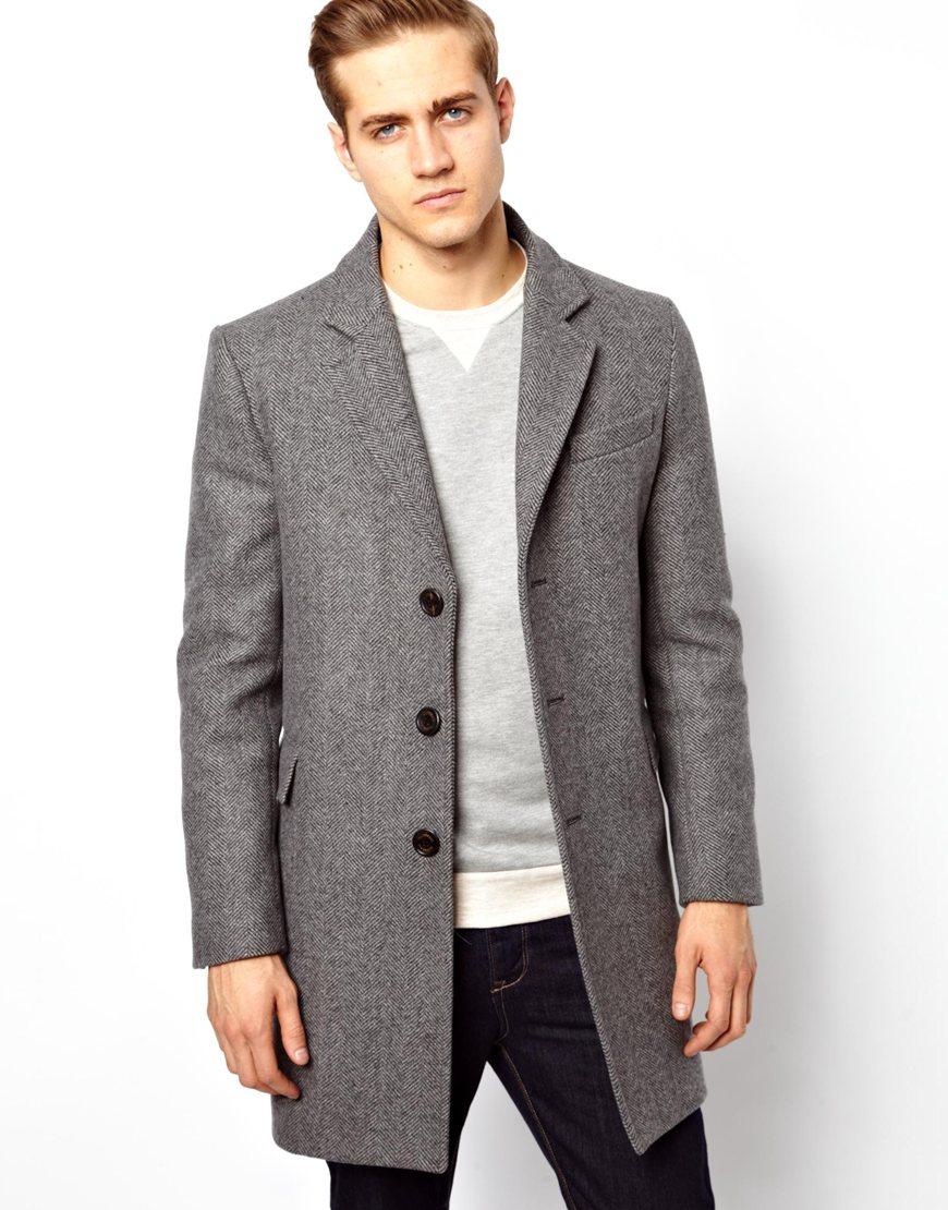 Gloverall Chesterfield Coat in Herringbone in Gray for Men | Lyst