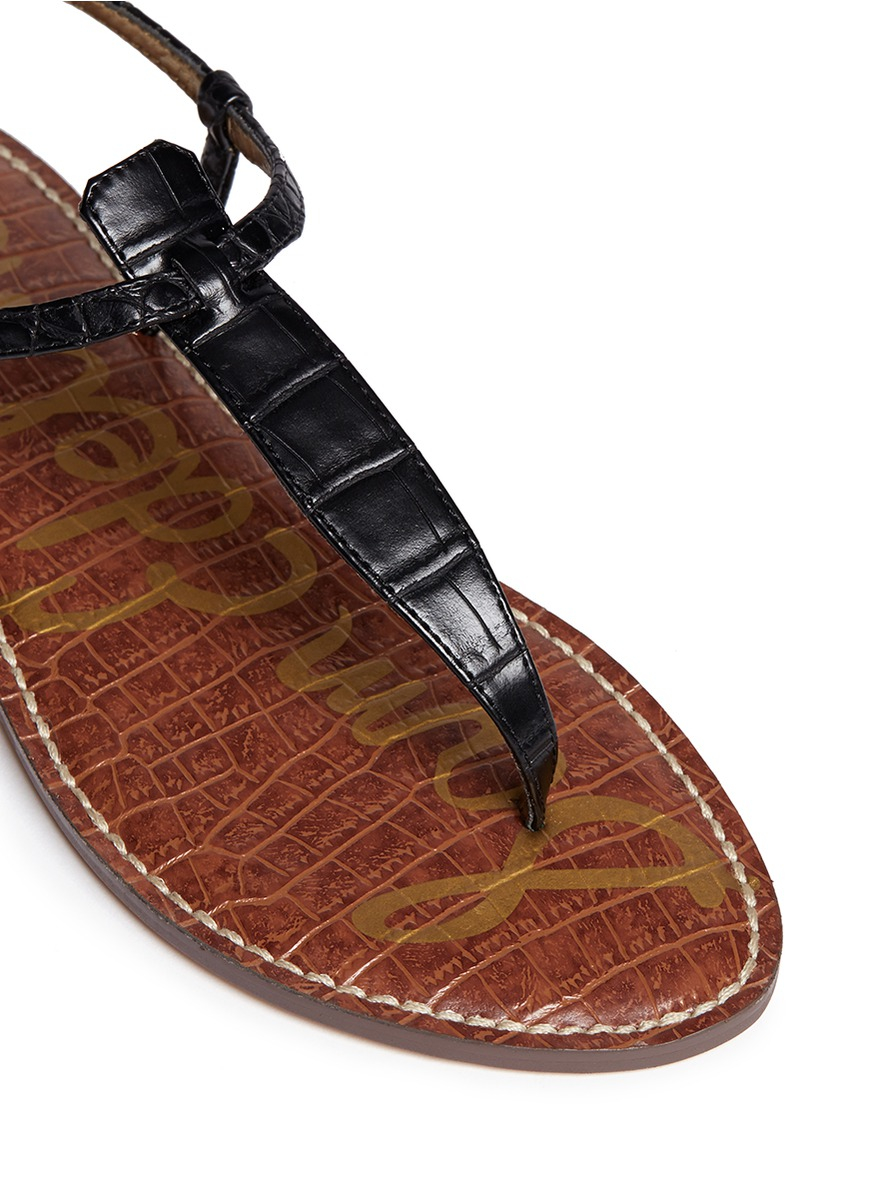 dae2632f07e7 Sam Edelman Gigi Croc-Embossed Sandals in Black - Lyst