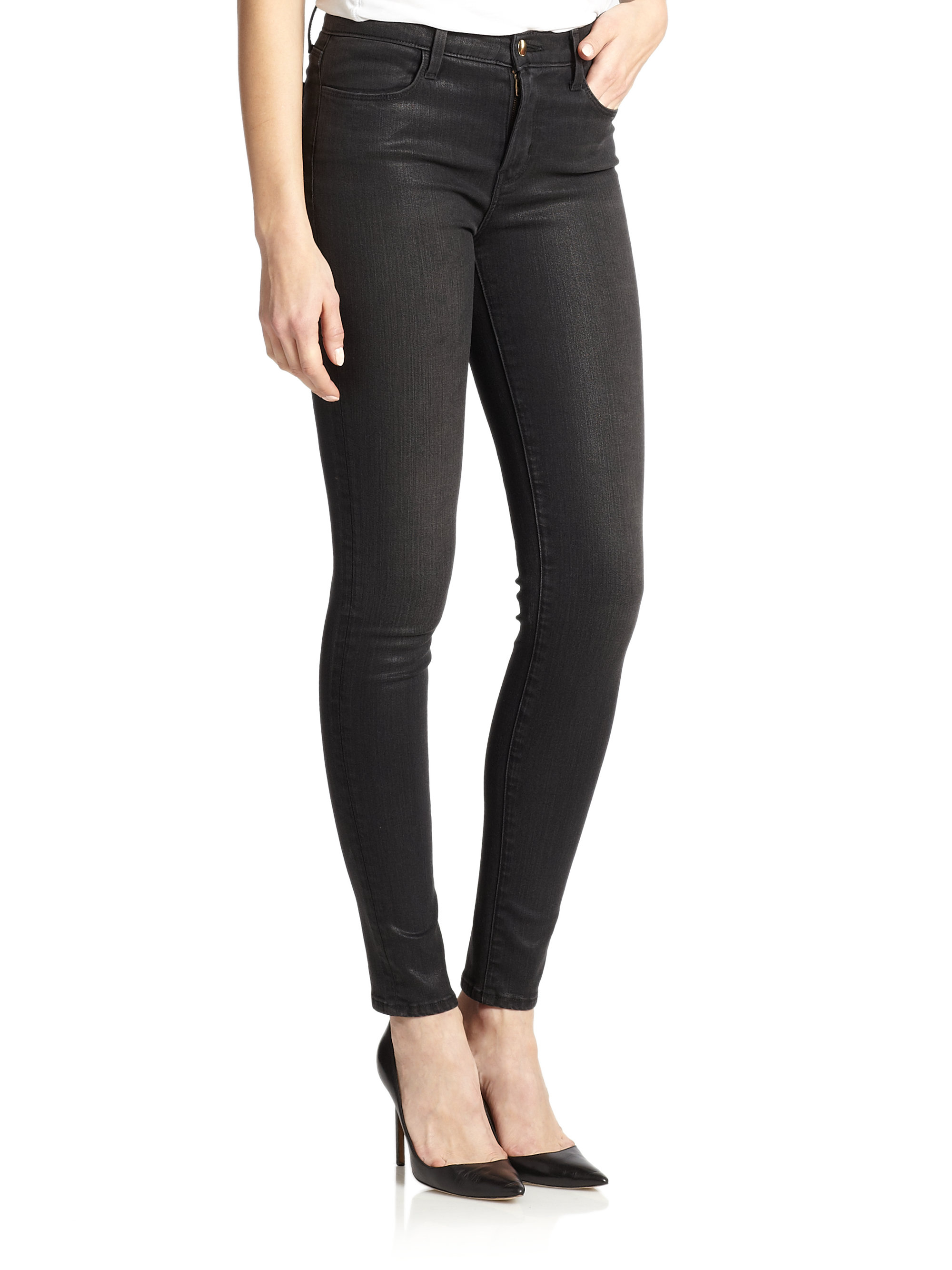 d39459d9dcc5 Lyst - J Brand Maria Photo-Ready Coated High-Rise Skinny Jeans in Blue