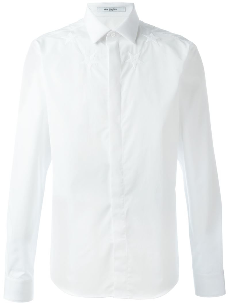 givenchy embroidered star shirt in white for men lyst. Black Bedroom Furniture Sets. Home Design Ideas