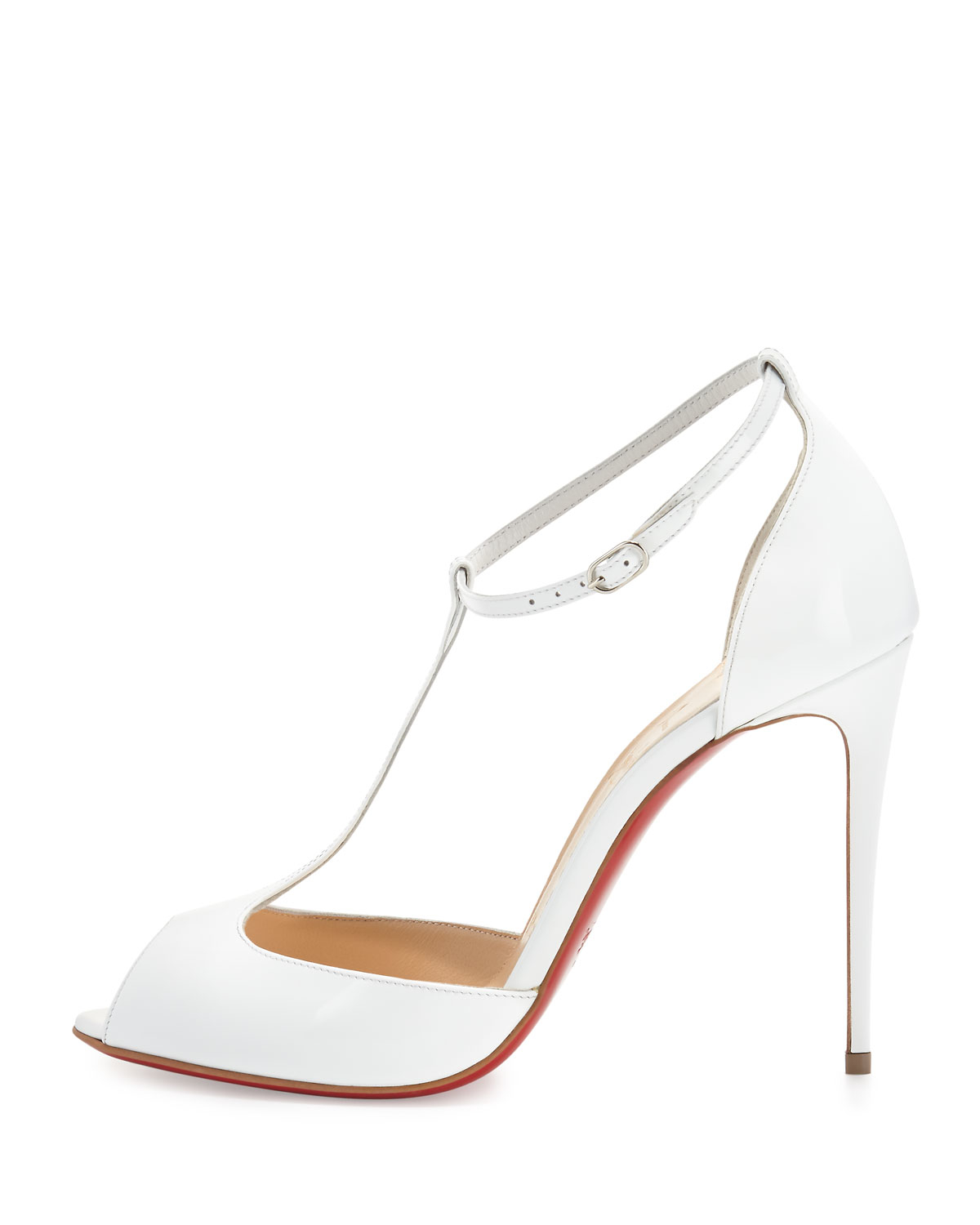 Christian louboutin Senora Patent-Leather Sandals in White | Lyst