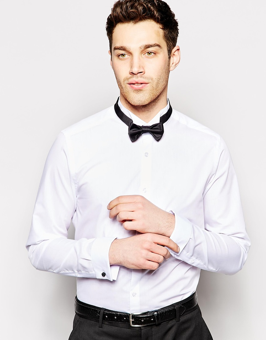 Lyst Asos Smart Tux Shirt With Textured Wing Collar And