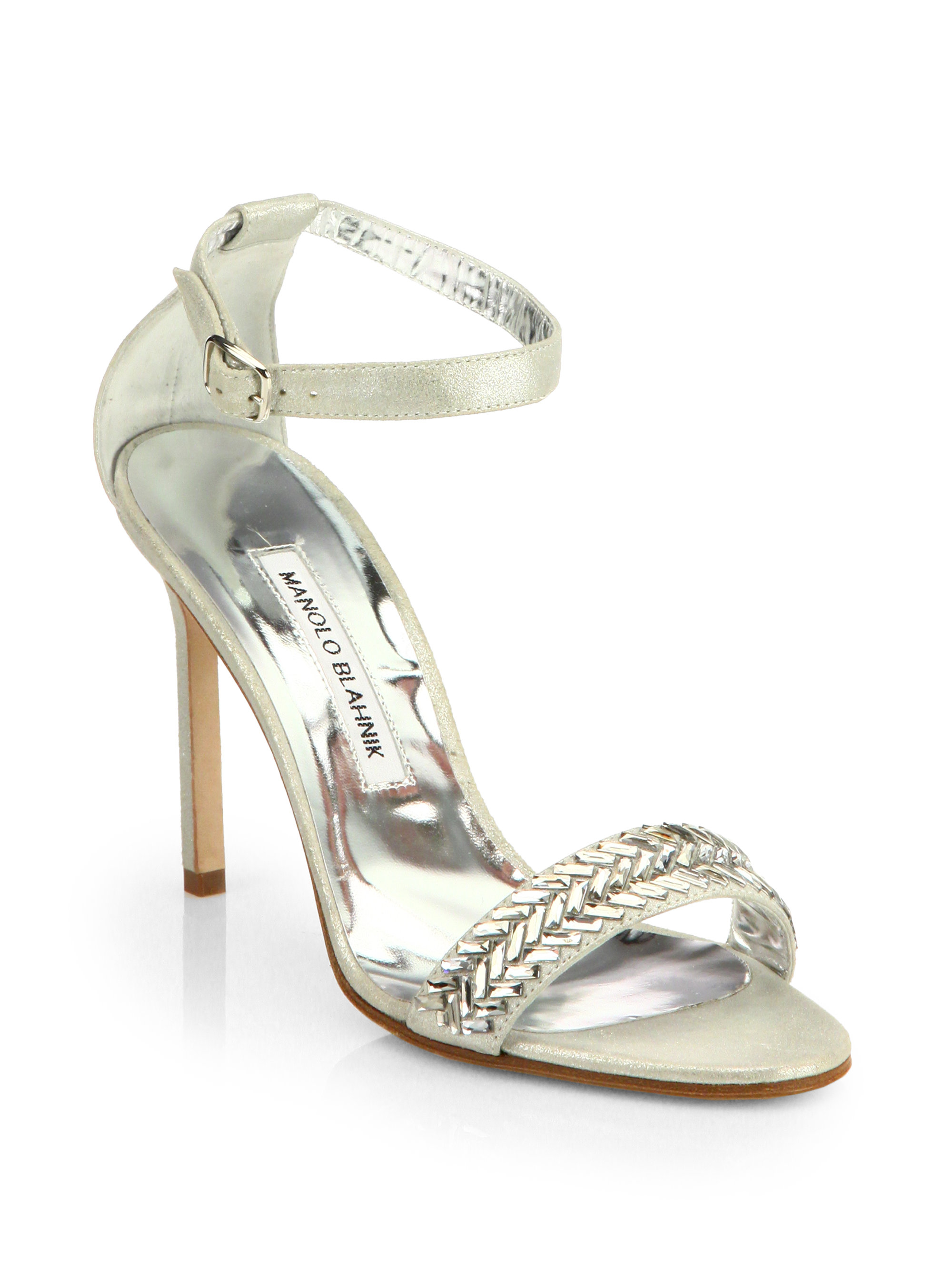 Manolo Blahnik Metallic Ankle Strap Sandals official cheap price cheap price original discount get to buy efVIdD8Ov