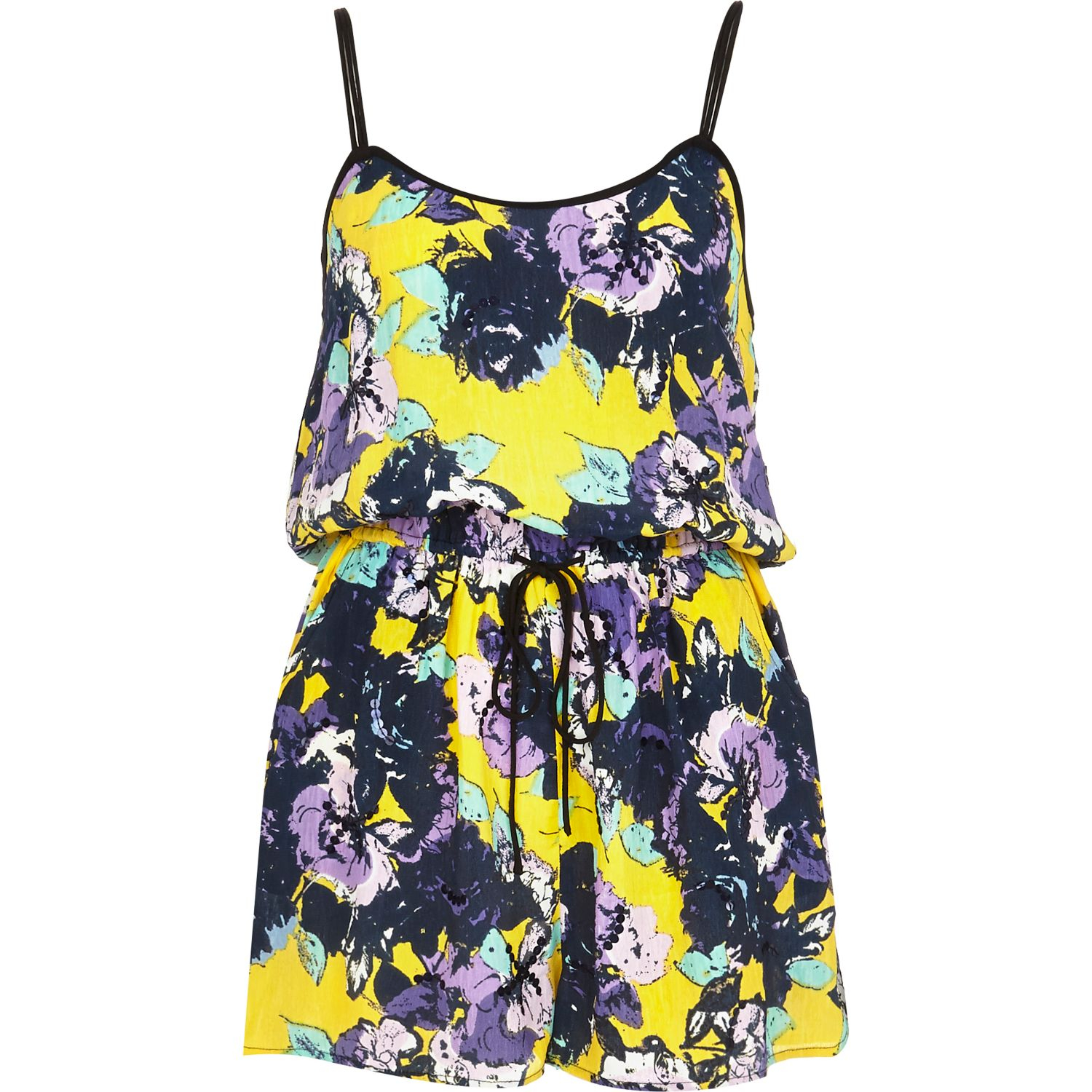 River Print Playsuit Yellow In Embellished Island Lyst Floral 6xUr6q