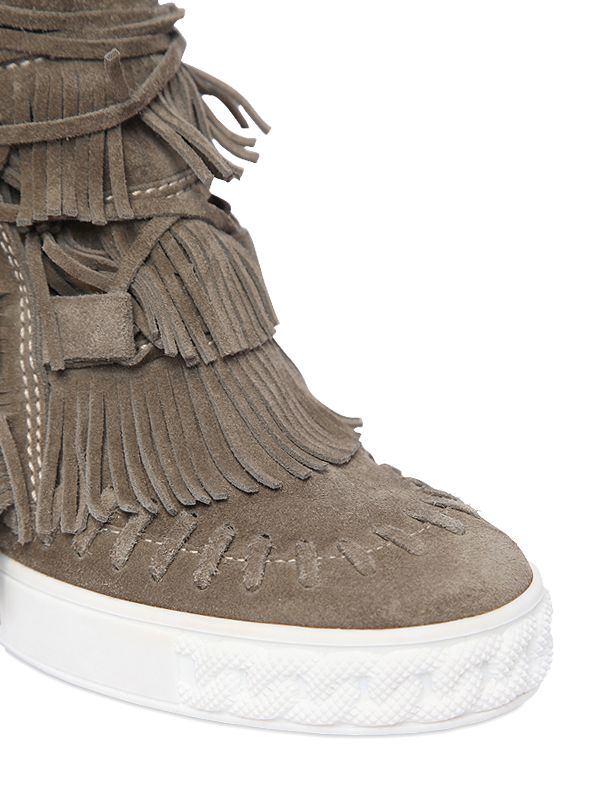Gallery - Casadei 80mm Fringe Suede Wedge Boots In Natural Lyst