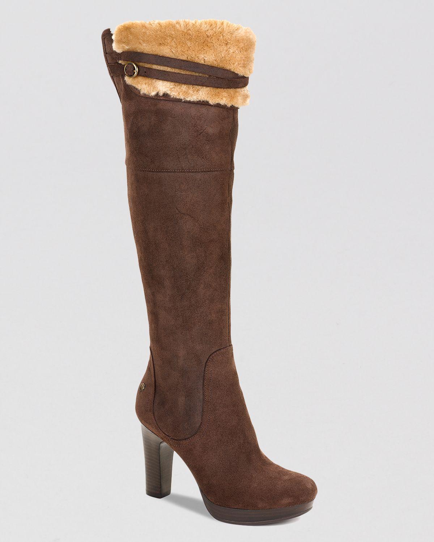 ugg ophira high heel the knee platform boots in brown