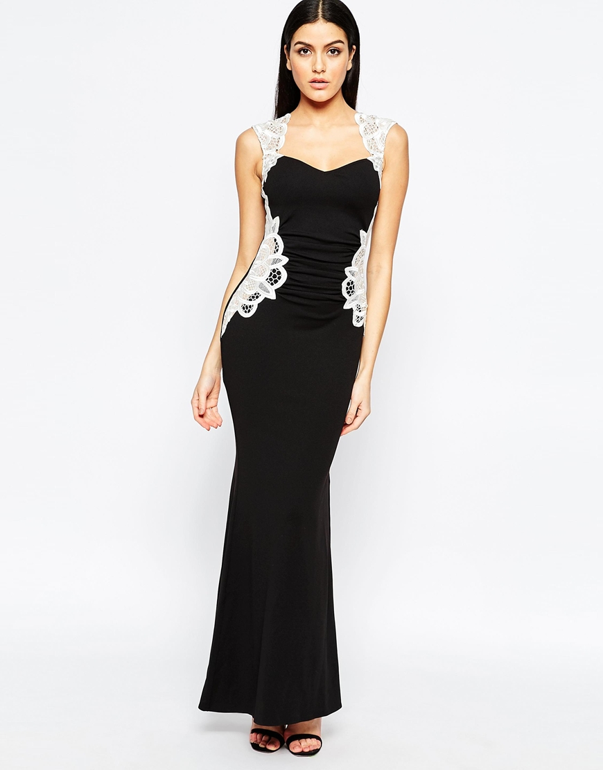 Lyst Lipsy Maxi Dress With Lace Side Detail In Black