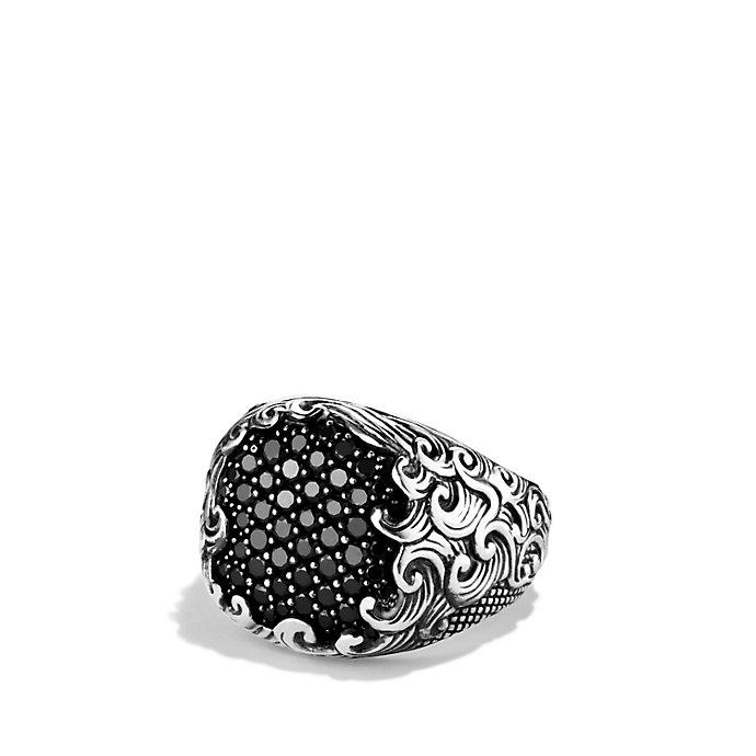 David yurman waves signet ring with black diamonds in for David yurman inspired jewelry rings