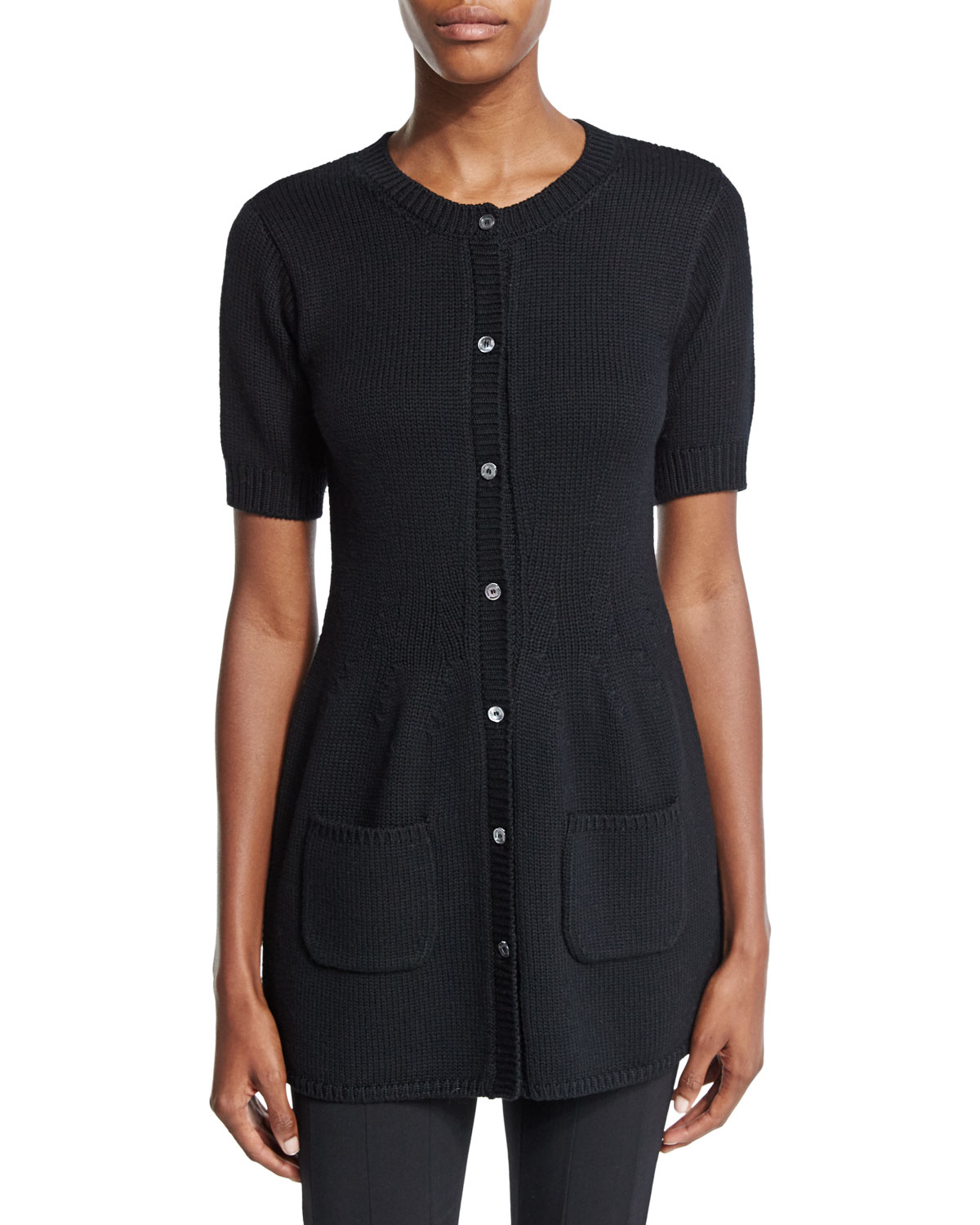 Agnona Short-sleeve Button-front Tunic Cardigan in Black | Lyst