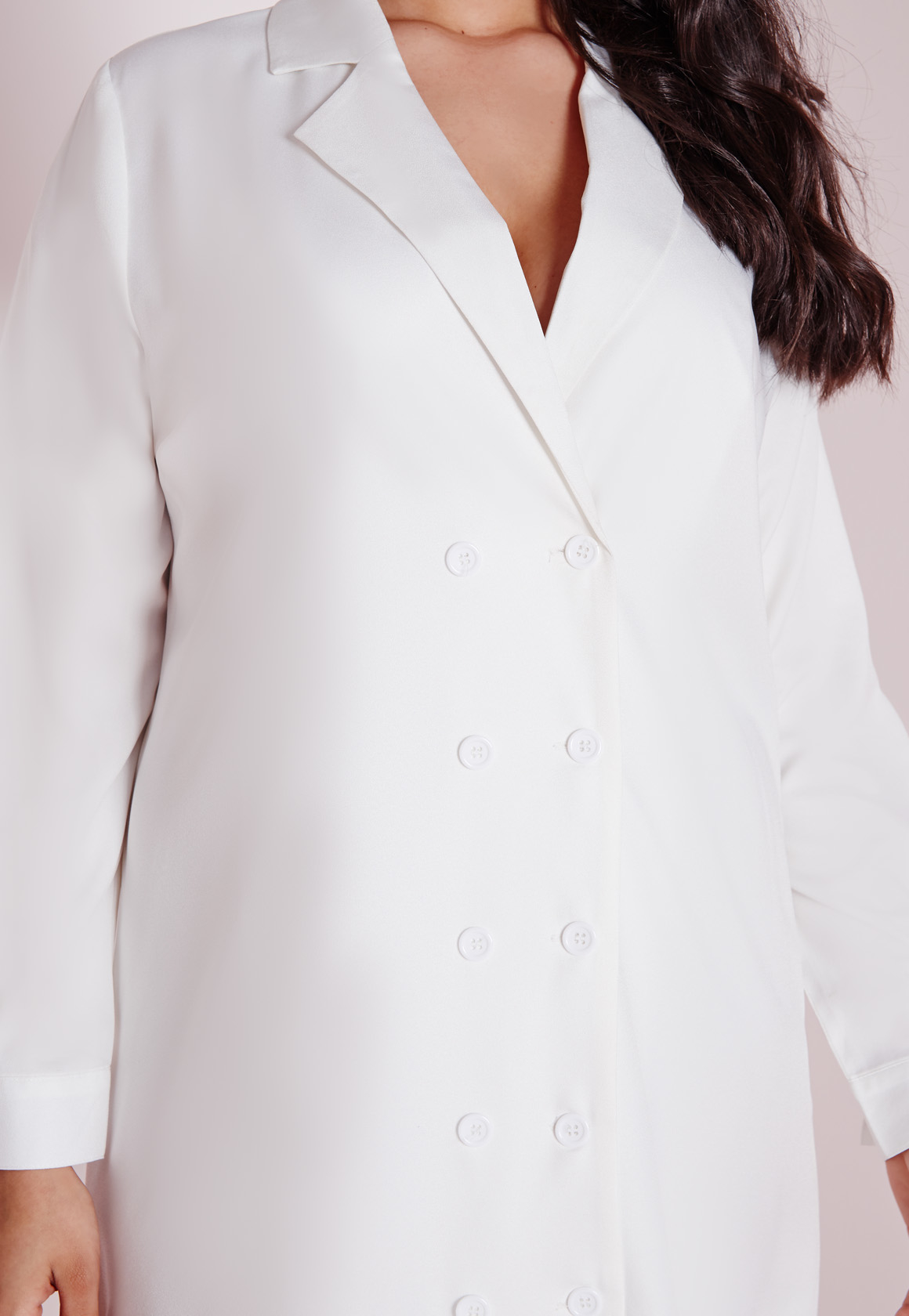 Lyst missguided plus size tuxedo shirt dress white in white for White shirt for tuxedo