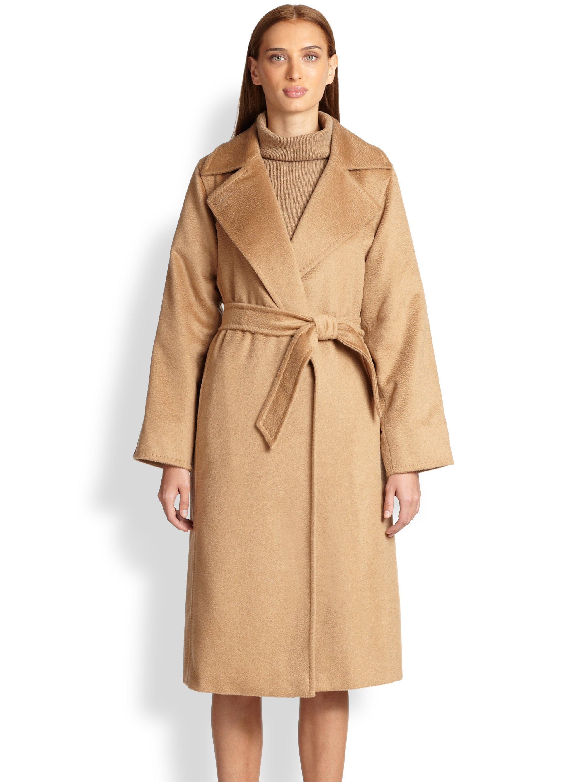 Max mara Manuel Camel Hair Wrap Coat in Brown (CAMEL) | Lyst