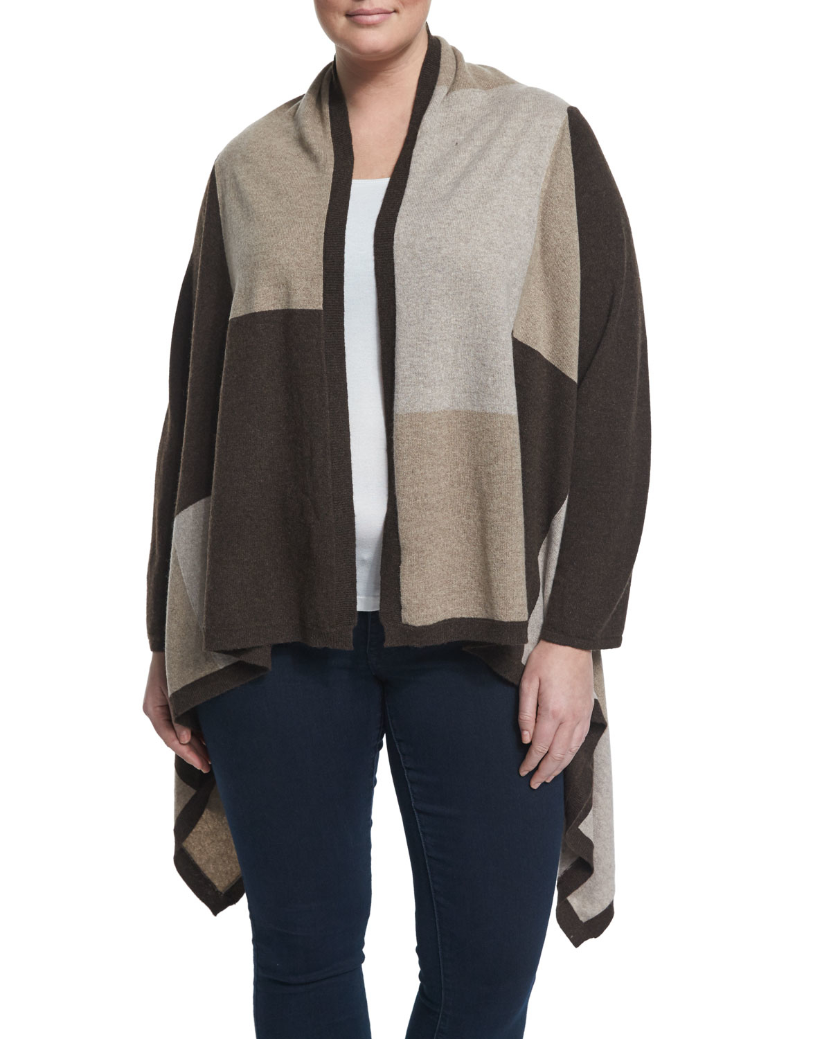 Neiman marcus Cashmere Cascade Colorblock Cardigan in Brown | Lyst