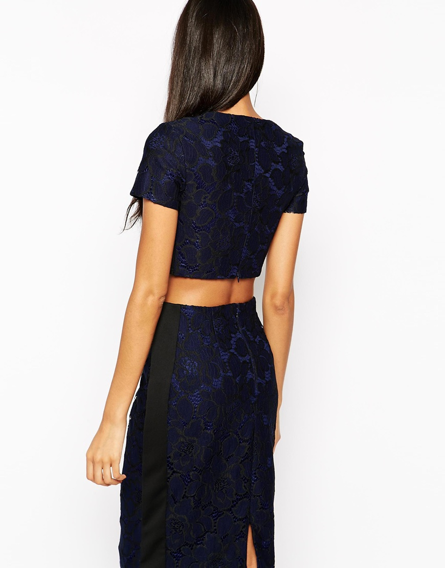 be8fab8ffb5 Lipsy Allover Lace Crop Top in Blue - Lyst