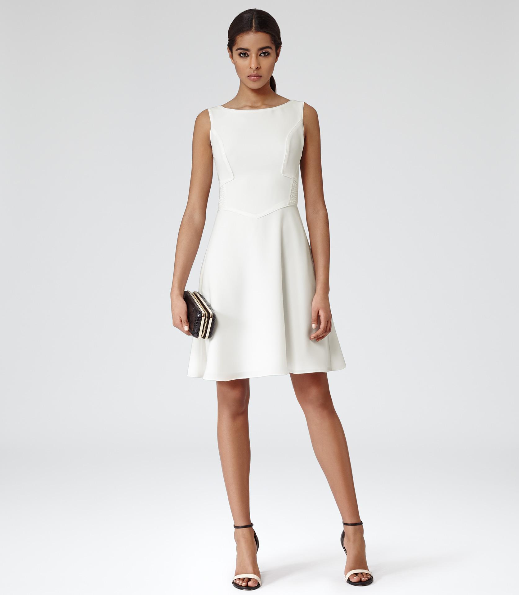 Lyst Reiss Jade Pleat Back Dress In White
