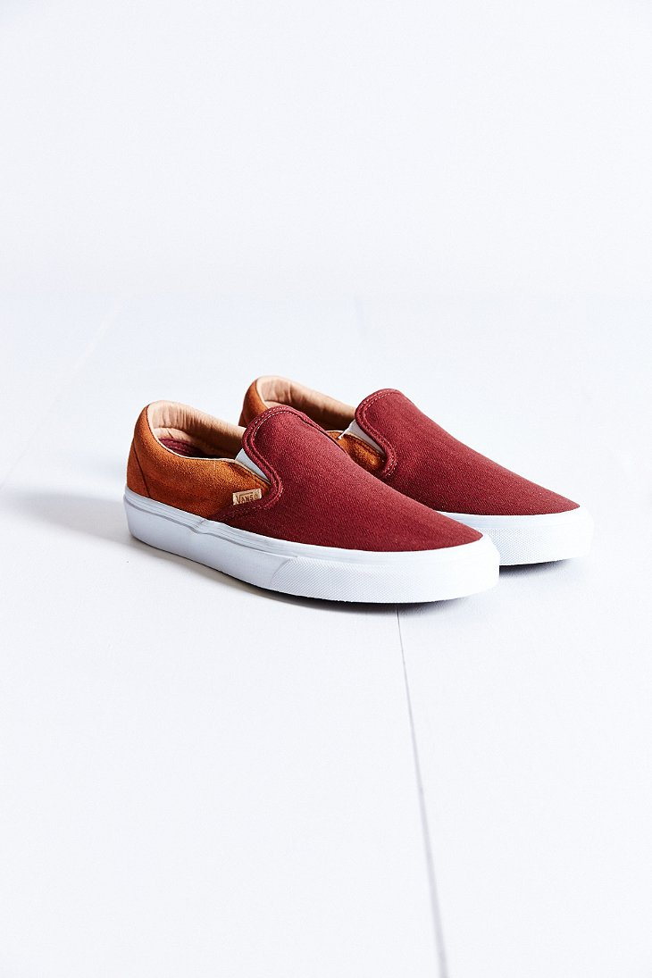 82730010f9 Lyst - Vans Classic Knit Suede Slip-on Sneaker in Red