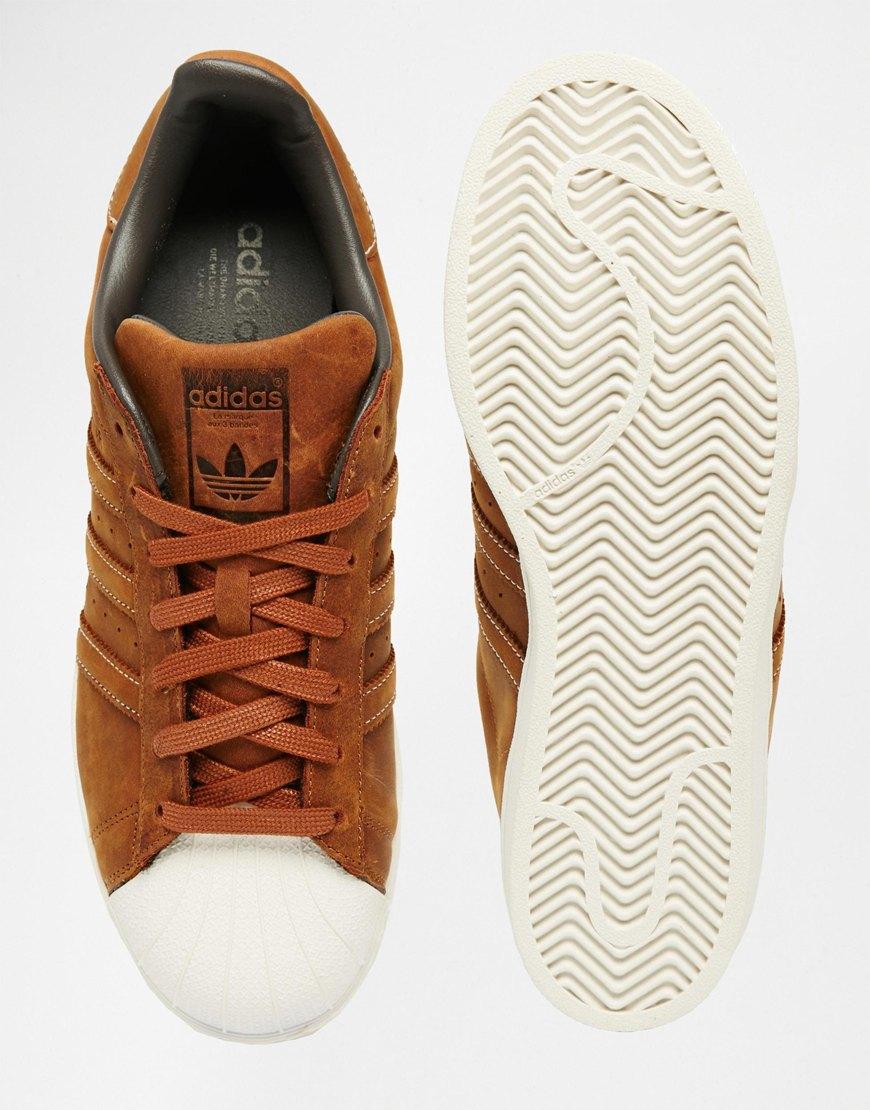 adidas superstar brown leather