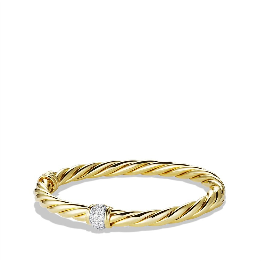 David yurman sculpted cable bracelet with diamonds in gold for David yurman inspired bracelet cable