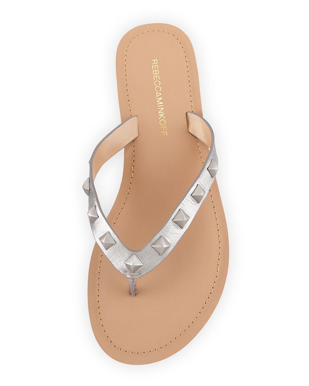 4519087c67f Lyst - Rebecca Minkoff Fiona Studded Thong Sandal in Metallic