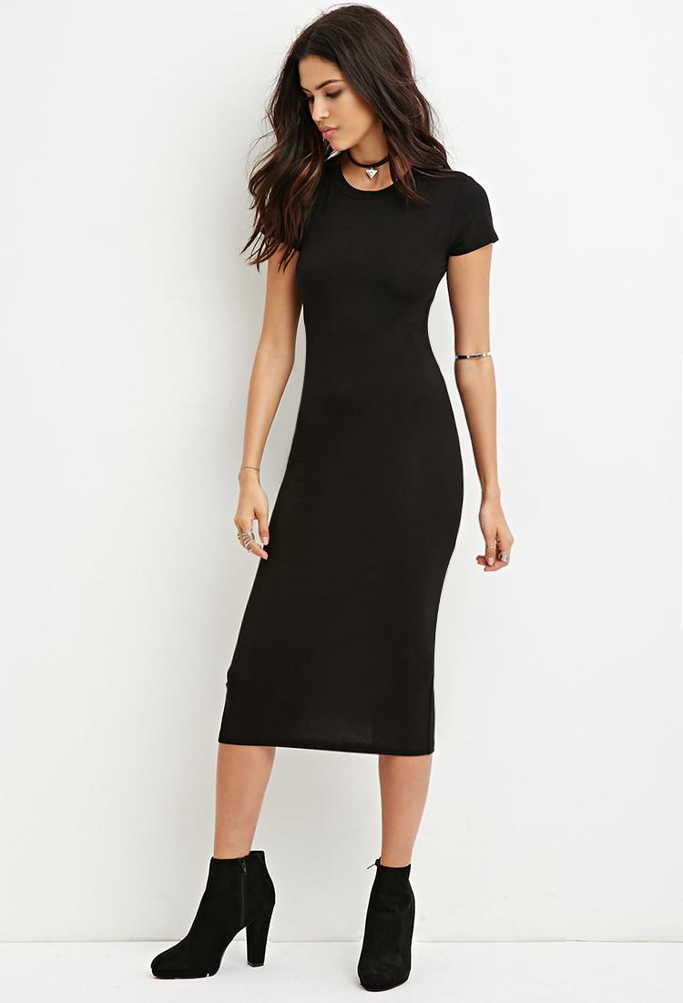 Lyst forever 21 t shirt midi dress in black for Midi shirt dress black