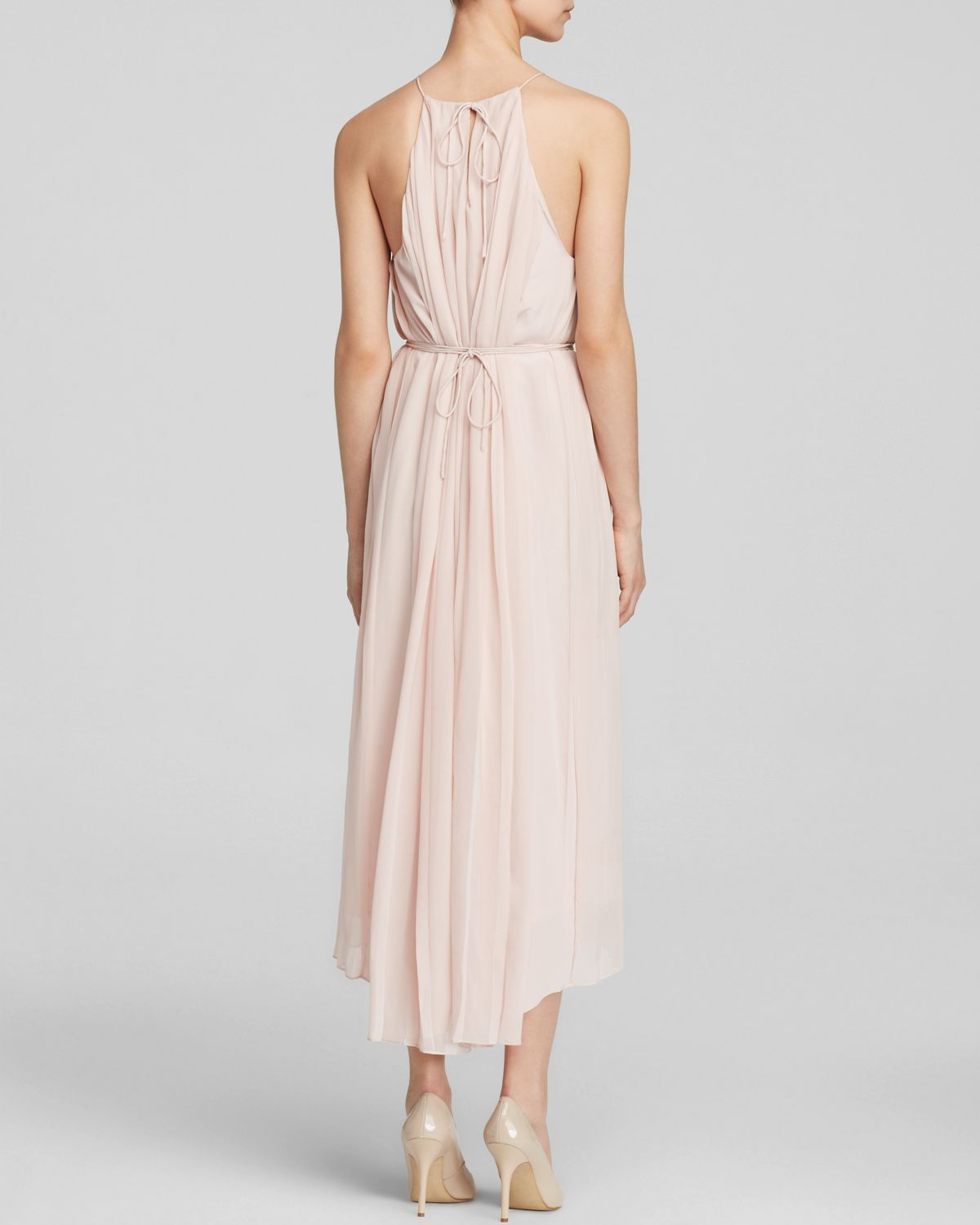 Tibi Dress - Simone Pleated Silk Midi in Pink | Lyst