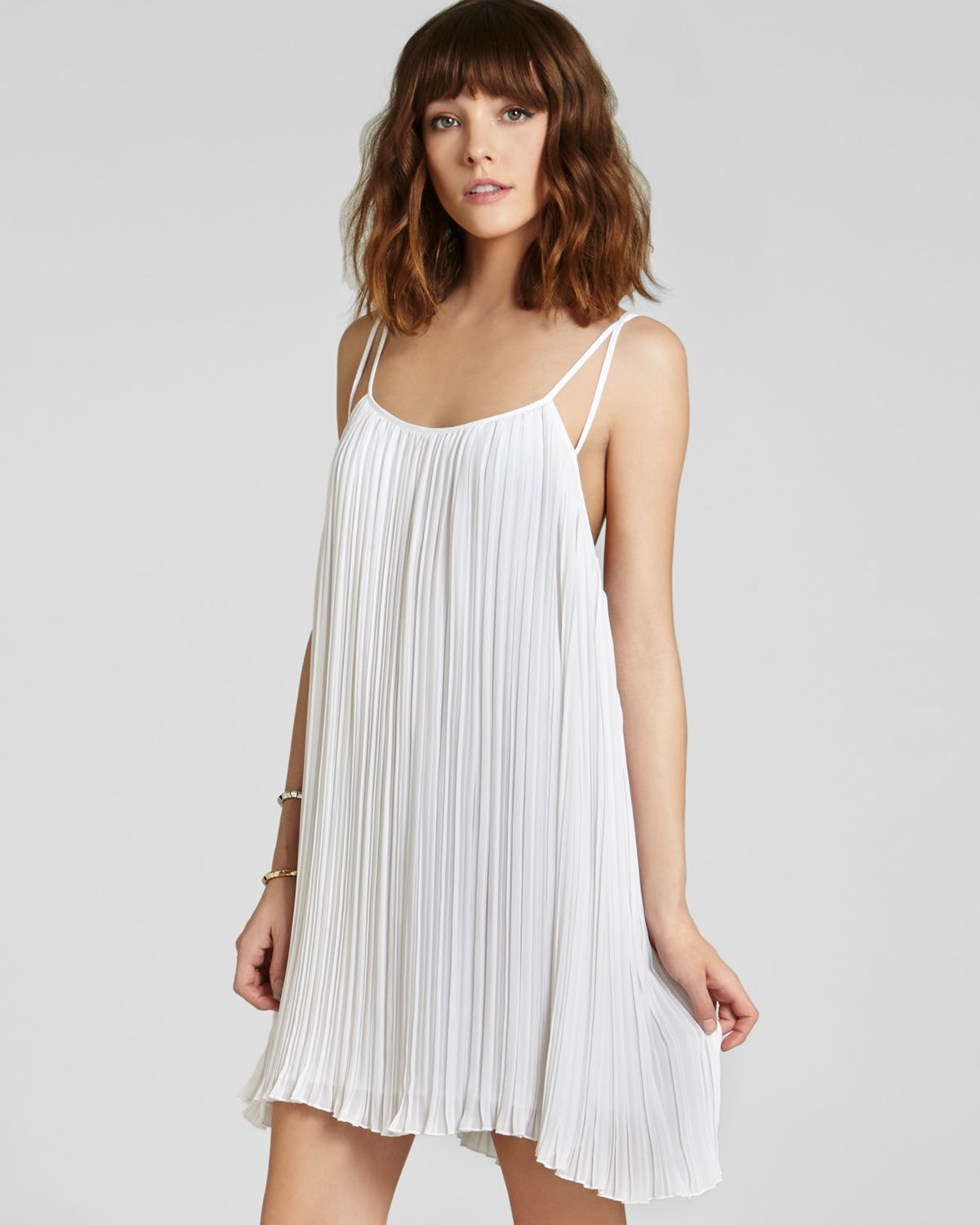 cd47ecc4662c1 BCBGeneration Dress Strappy Pleated in White - Lyst