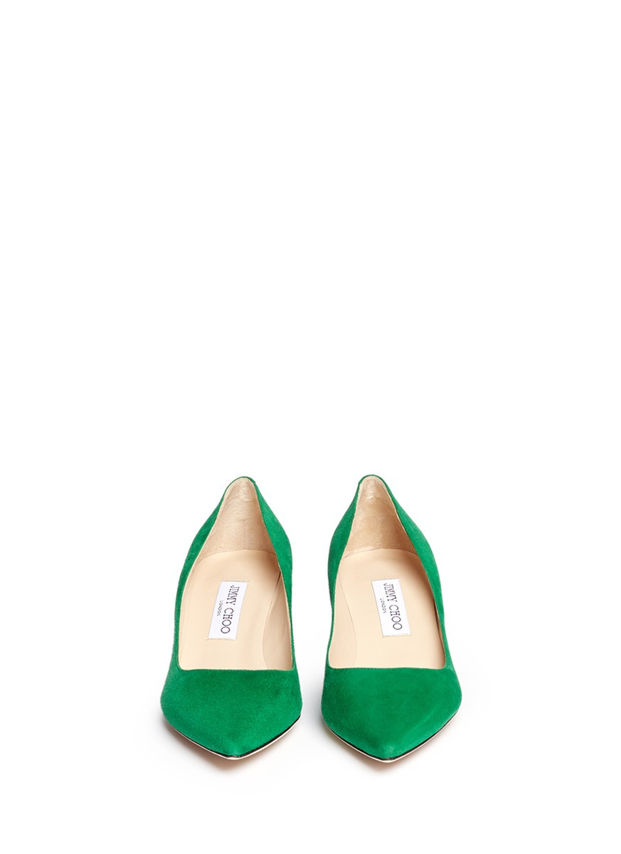 Jimmy choo &39aza&39 Suede Kitten Heel Pumps in Green  Lyst